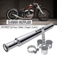 540MM Motorcycle Retro Tail Exhaust Pipe Muffler Silencer For Harley Cafe Racer Bobber Chopper Custom