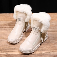 Women Boots Fashion PU Leather Women Winter Boots Breathable Flats Platform Round Toe Women Boots Warm Fur Ankle Boots