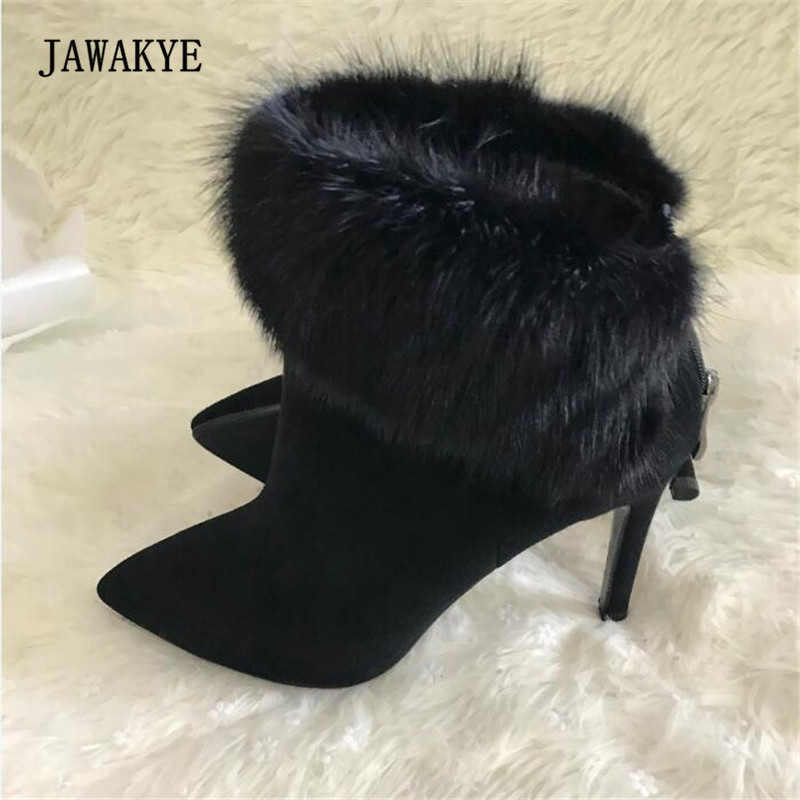 JAWAKYE Black Suede Fur Ankle Boots Women Pointed Toe Sexy High Heel Boots Woman Fashion All Matched Martin Boots Winter aloeent black ankle boots women high heels pointed toe sexy winter boots woman shoes winter women boots with fur inside
