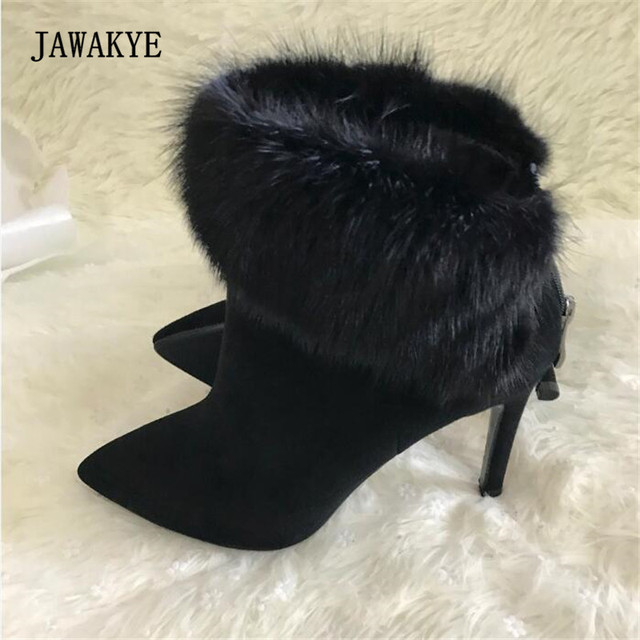 a042a593336 JAWAKYE Black Suede Fur Ankle Boots Women Pointed Toe Sexy High Heel Boots  Woman Fashion All Matched Martin Boots Winter