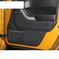 lsrtw2017 black fiber leather car door anti kick interior mat for jeep wrangler 2011 2012 2013 2014 2015 2016 2017