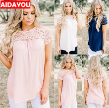 Womens t-shirt Lace Shirts for beach Vest shortsleeve Casual  chiffon Tops T-Shirts ouc3171