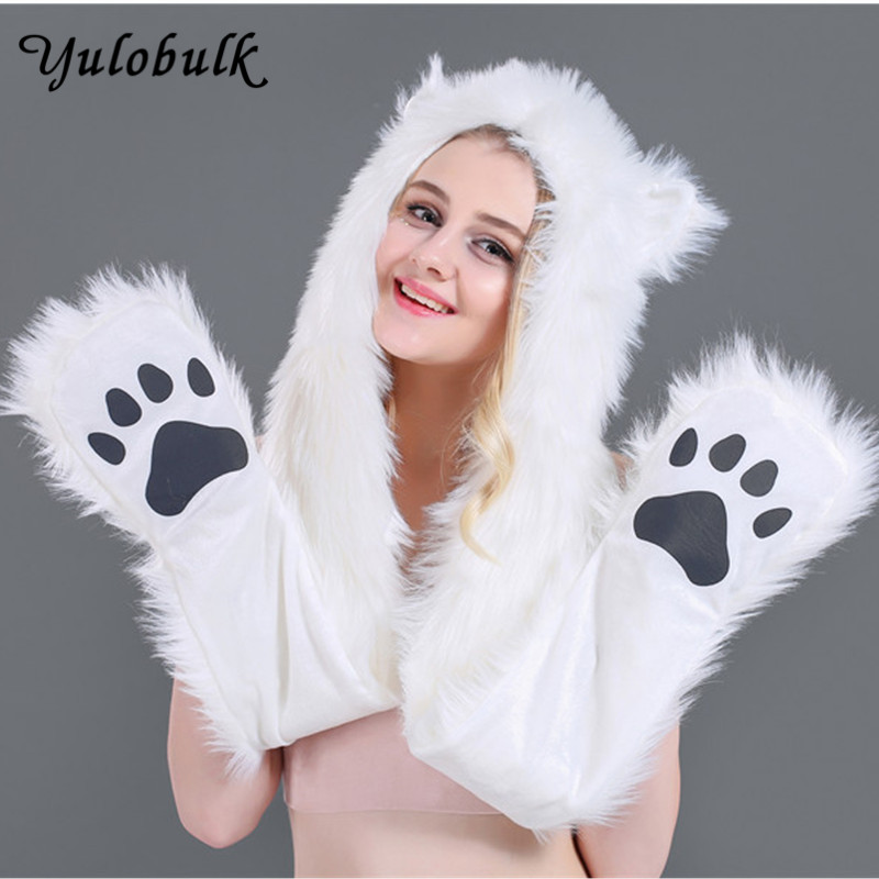 Animal Hat With Paws Bright Wolf Pink Faux Fur