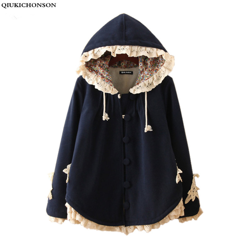 Manteau hiver femme 2018 winter thicken fleece lined hooded womens capes and ponchoes mori girl cute wool coat