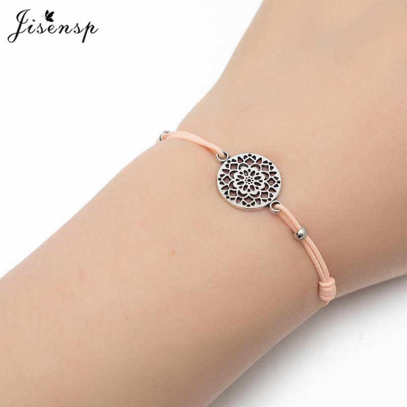 Jisensp Vintage Mandala Flower Geometric Round Charm Bracelet for Women Men Kids Lucky Rope Bracelet Wishing Jewelry Gift