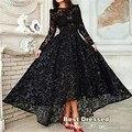 Nancy Ajram 2015 A-Line Lace Transparent Long Sleeves Hi-Lo Vestidos Black Plus Size Celebrity Dresses Special Occasion Dress