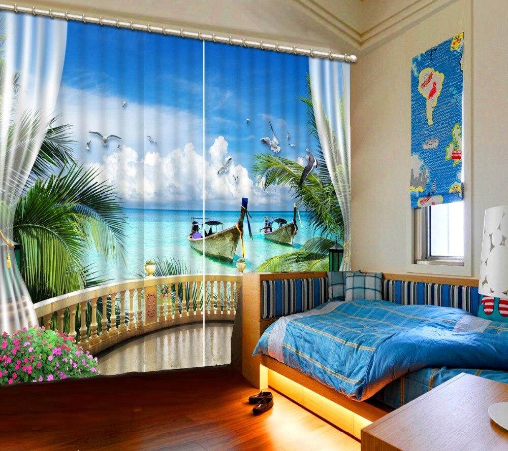Personnaliser 3D rideaux fenêtre 3D rideaux pour salon chambre paysage marin avec cocotiers rideaux de fenêtre