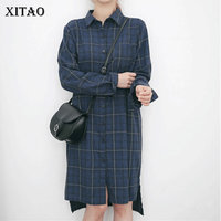 XITAO 2018 Spring New Korea Preppy Style Women Single Breasted Plaid Long Shirts Female Loose