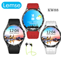 2016 hot kingwear kw88 android 5.1 os smart watch 1.39 polegada 400*400 suporte 3G wifi nano SIM WCDMA telefone SmartWatch Freqüência Cardíaca
