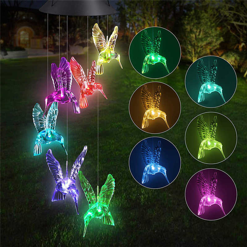 Creative Solar Color Changing LED Hummingbird Wind Chimes Light Lamp Waterproof  Wind Chimes Home Garden Hanging Party Decor