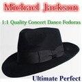 Novo Michael Jackson Concerto Dança Fedoras Fedoras de Lã Sólida Clássico Preto de Aba Larga Jazz Cavalheiro Chapéu
