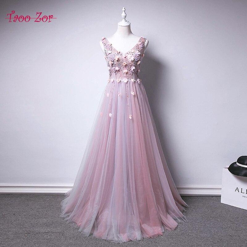 TaooZor Enchanting Long Sleeve Prom Dresses V-Neck Sheer Back Lace Evening  Party Dress A-Line Vestido De Festa Cheap Prom Dress ab08369fb280
