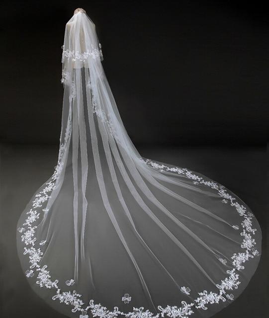Tulle Wedding Veils 2017 Bridal VeilsApplique Edge Adult Luxurious mantillas de encaje negro yy5687