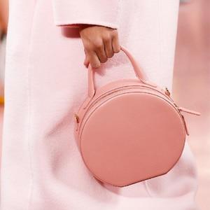 Image 3 - Женская круглая сумка мессенджер, брендовая элегантная сумка из искусственной кожи высокого качества, 2019