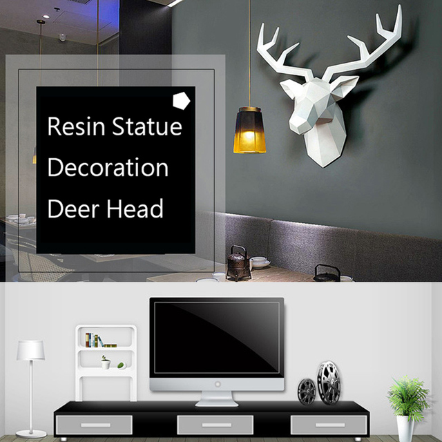 3D Deer Head Sculpture Home Decoration Accessories Geometric Deer Head Abstract Sculpture Room Wall Decor Resin Deer Head Statue