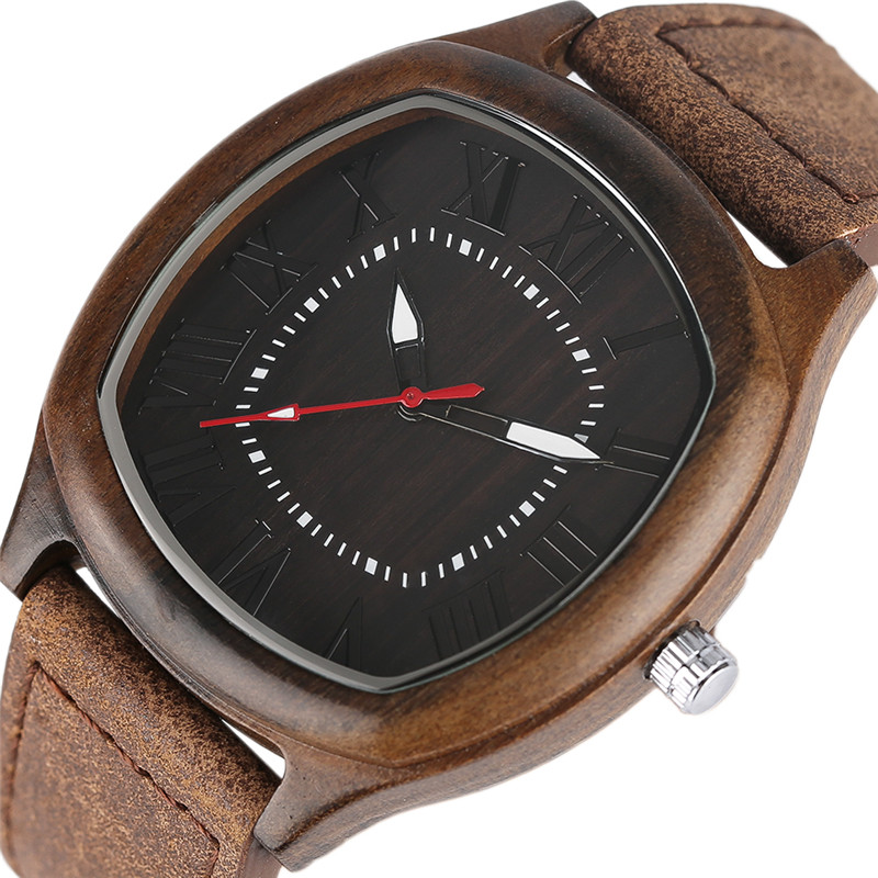 Unique Leather Handmade Watch Men Bamboo Wood