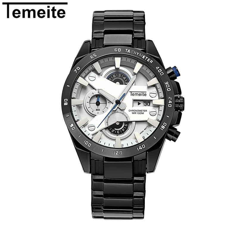 2018 New Watches Men Luxury Brand TEMEITE Full Steel Quartz Clock Digital Military Watch Sport Wristwatch Relogio Masculino