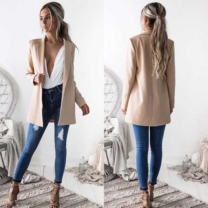 New Fashion Women Ladies Suit Coat Business Blazer Long Sleeve Outwears Office Lady's Long Blazers