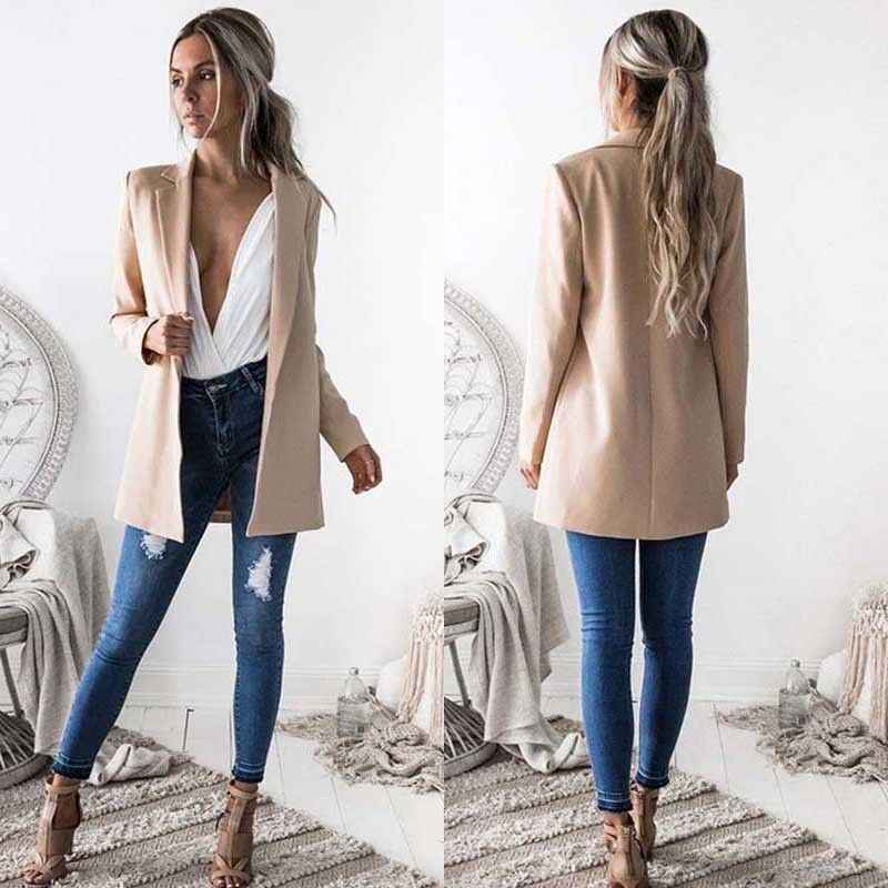 New arrival Women Ladies Suit Coat Business Blazer Long Sleeve Outwears Office Lady's Long Blazers