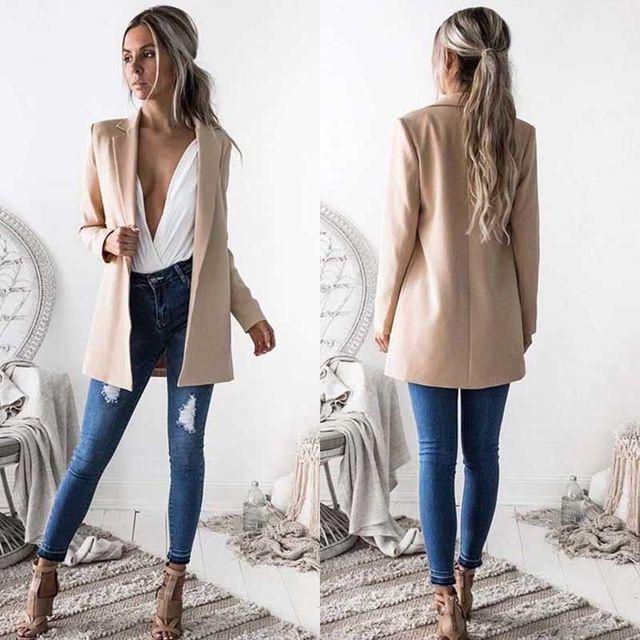 Новый Модный женский костюм пальто деловой блейзер с длинным рукавом Верхняя одежда офисные женские длинные пиджаки