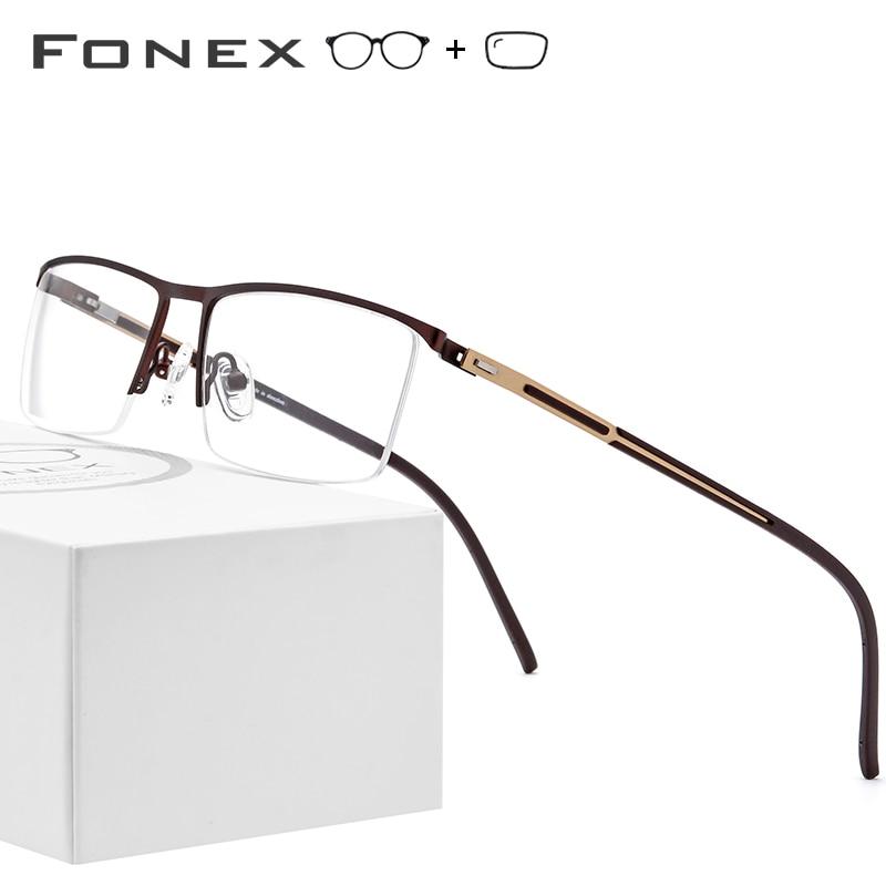Alloy Prescription Glasses Frame Men Ultralight Half Square Myopia Eyeglasses 2019 New Optical Frames Screwless Eyewear