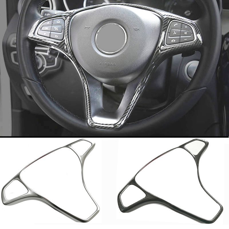 Refit ABS sticker steering wheel button trim decorative frame sticker accessories for Mercedes Benz W205 W213 GLA GLC E C Class car accessories amg exhaust cover outputs pipe tail frame trim for mercedes benz glc a b e c class w205 coupe w213 w176 w246