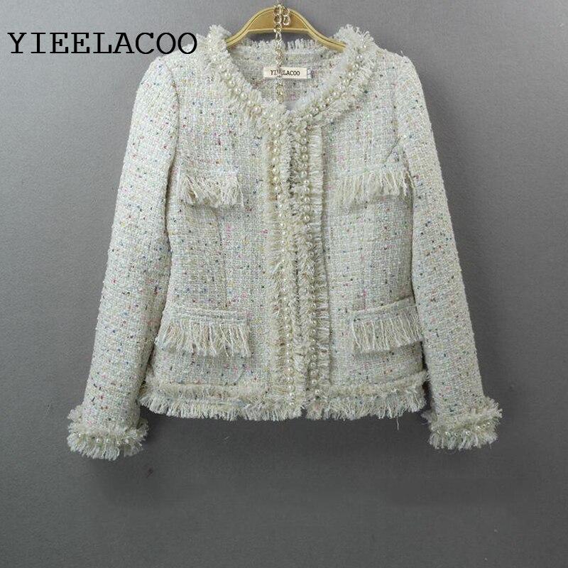 Beige tweed jacket 2019 autumn winter new women Slim jacket hand beaded ladies small fragrant wind