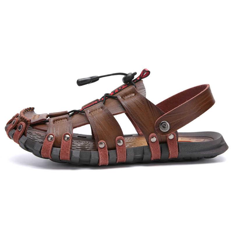 8c84b1d7b ... 2019 New Sandals Men Shoes Closed Toe Khaki Beach Lightweight Slippers  Sandals Plus Size Summer Outdoor ...