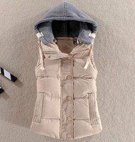 Women Beige Thermal Vest Sleeveless Cotton Girls Large Size Quilted Jacket Hooded Puffer Vest Female Casual Warm Short Tops 6xl