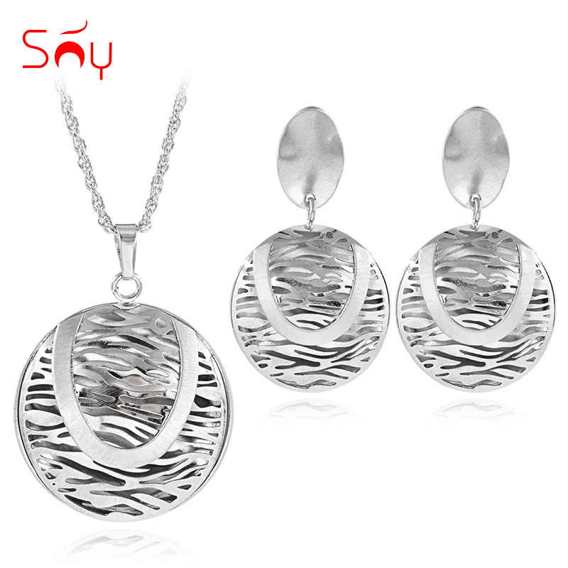 Sunny Jewelry Classic Round Moon Jewelry Sets For Women Necklace Earrings Pendant Jewelry Sets For Party Wedding Engagement Gift