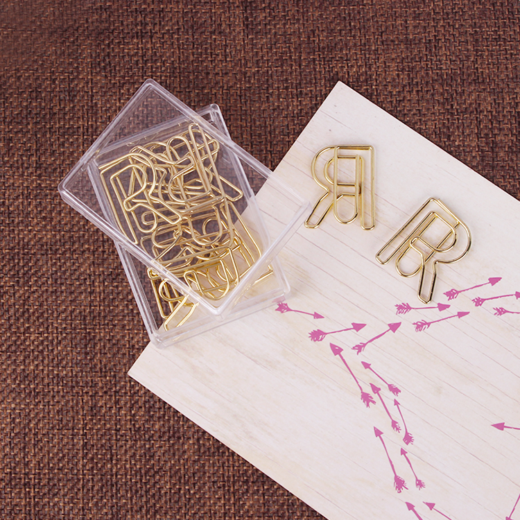 Golden R Paper Needle Cartoon Metal Pin Rose Gold Paper Needle 20 Lovely Office Accessories Paper Clips Paper Clip Paperclips