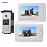 DIYSECUR 4-Wire Video Deurtelefoon Kit Outdoor 1 X Camera Met RFID 2X7 inch Lcd-kleurenbeeldscherm