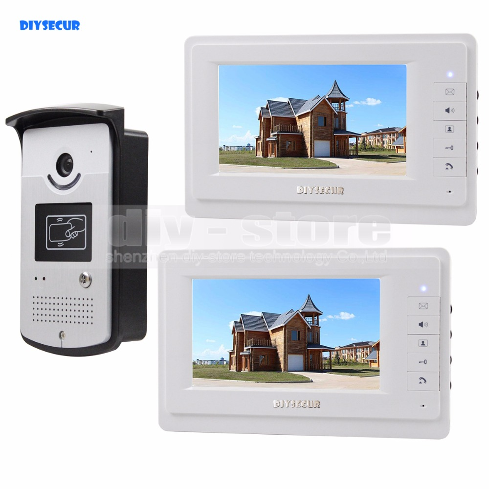 DIYSECUR 4-Wire Video Door Phone Kit Outdoor 1 X Camera With RFID 2 X 7 inch LCD Color MonitorDIYSECUR 4-Wire Video Door Phone Kit Outdoor 1 X Camera With RFID 2 X 7 inch LCD Color Monitor