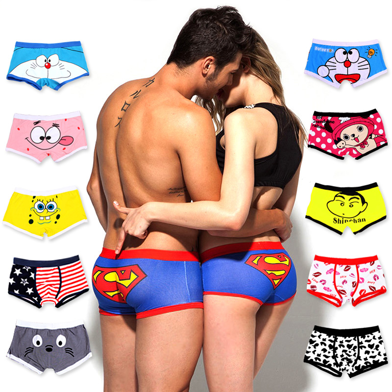 Couple Panties Boxer-Shorts Underwear Men Printed Superman Cartoon Mens Women Cotton title=