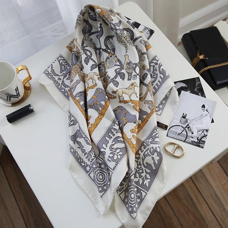 Elegant Print Ladies 100% Silk Scarf Shawl Women Fashion Temperamental Silk Head Scarves Hijab 35