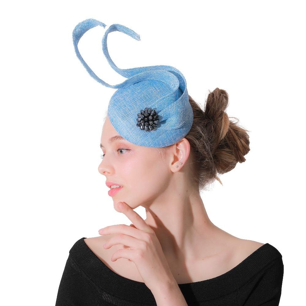 Charming Light Blue Imitation Sinamay Fascinators Hats Elegant Ladies Hair Accessories Hairclips Fashion Kentucky Headpieces