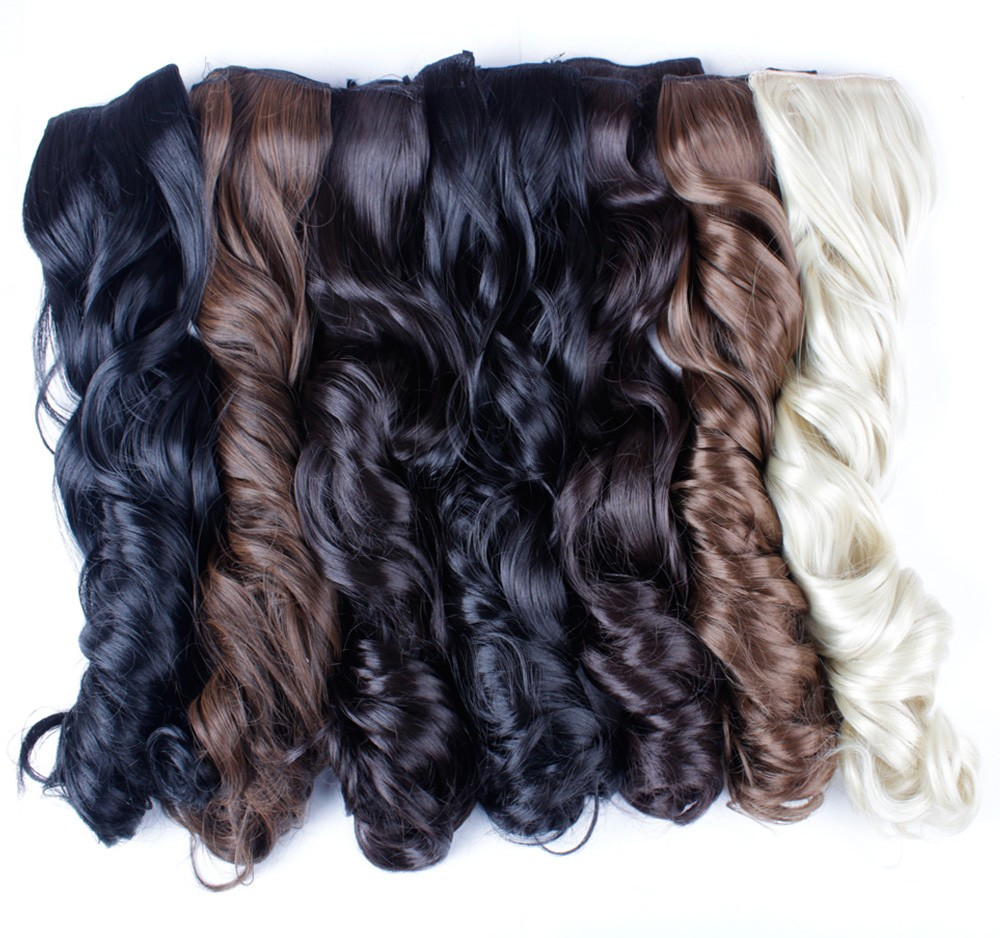 New 27 Quot Long Curly Synthetic Hair Clip In Half Head Hair