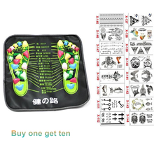 Chinese Health Care Colored Plastic Walk Stone Square Healthy Foot Massage Mat Pad Cushion send tattoo sticker