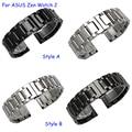 22 мм Металлический браслет для ASUS ZenWatch 2 качество массив из нержавеющей стали ремешок для часов черный серебристый