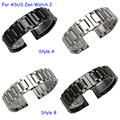 22mm Metal bracelet for ASUS ZenWatch 2 quality solid stainless steel watchband black silver