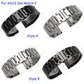 22mm pulseira de metal para asus zenwatch 2 qualidade sólida pulseira de aço inoxidável prata preto
