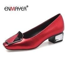 Enmayer  Genuine Leather Square Toe Zapatos De Mujer Pumps Women Shoes Fashion 2018 Size 34-39 LY418