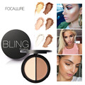 3pcs/set Highlight Bronzing Contour Powder Palette Makeup Blush Bronzer &Highlighter 2 Diff Color Concealer Bronzer Palette