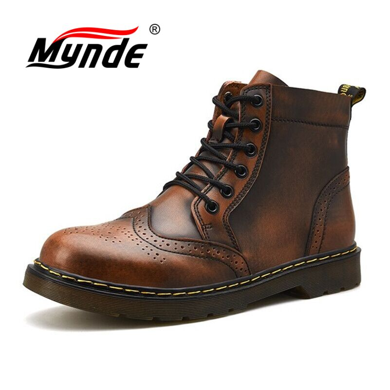 Mynde Martin Boots Men Shoes Motorcycle Waterproof Winter Genuine-Leather Warm Super