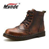 Mynde Super Warm Men's Boots Winter Genuine Leather Ankle Boots Waterproof Snow Boots Motorcycle Martin Boots Men Shoes