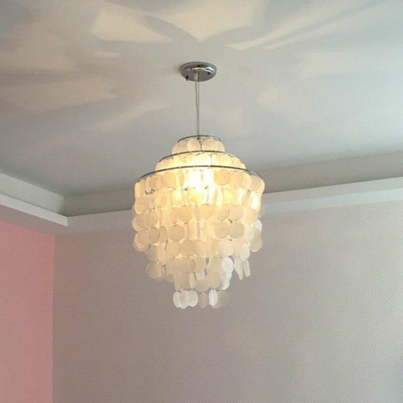 Modern nature white sea shell Capiz E27 bulb pendant lamp nordic romantic DIY campanula dinning room pendant light fixture