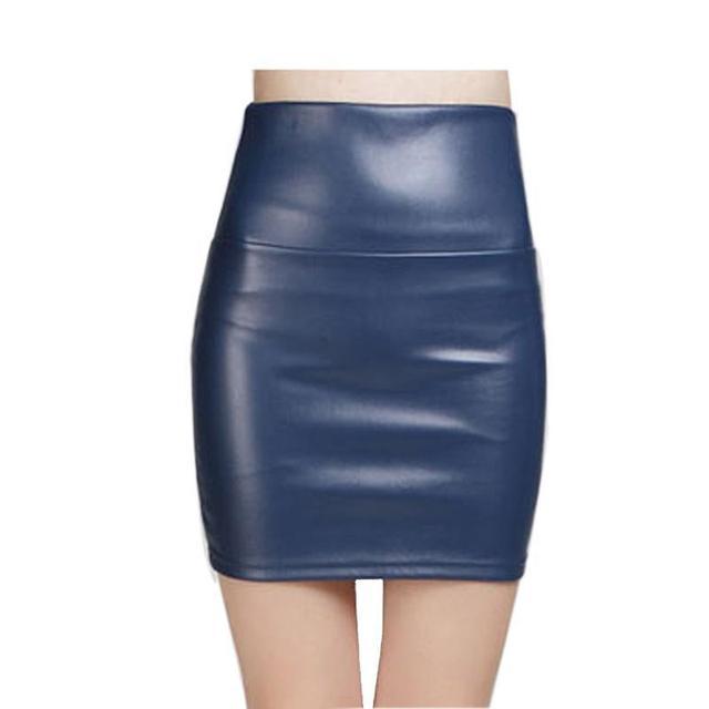 2016 Nova moda Mulheres faux pu lápis de Couro saia de cintura alta partido vestuário feminino curto mulher saias saias femininas
