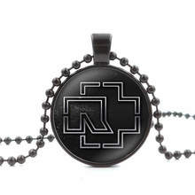 Necklaces & Pendants Fashion Rock Band Rammstein Logo Glass Dome Round Pendant DIY Jewelry Black Bead Chain Necklace Men Women