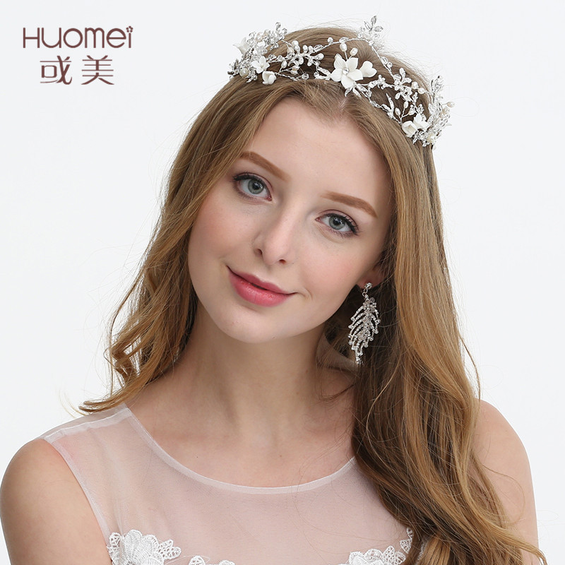 Beauty Bride Wedding Hairband Pearl Rhinestone Headwear Wedding Dress Accessories 2019 Hair Jewelry Ornament Bride HeadhoopD2178 trendy rhinestone faux pearl hairband for women