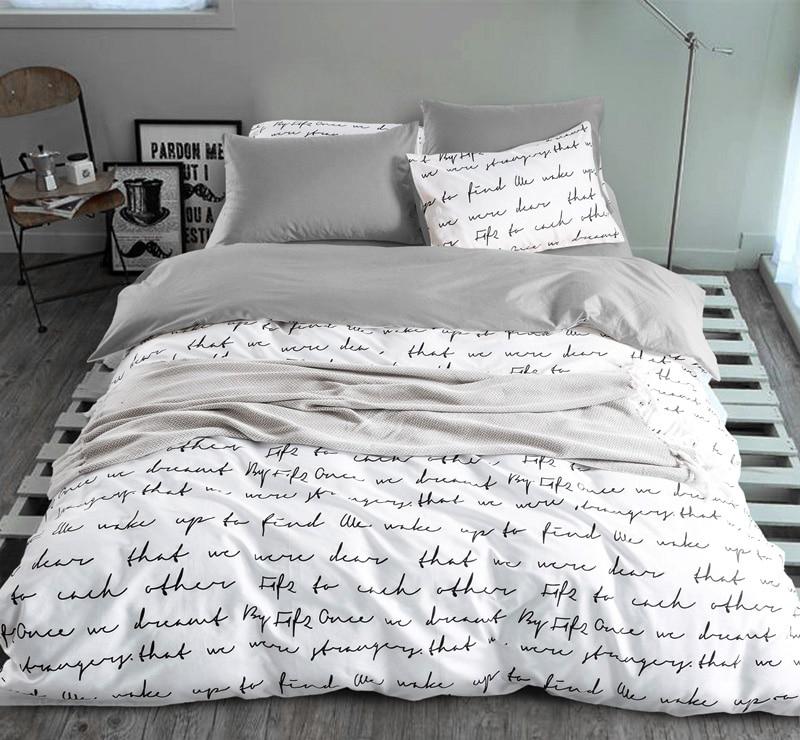 Letter Printing Duvet Cover Sets King Activity Bedding